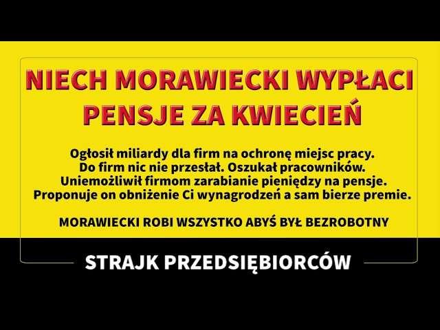 Niech Morawiecki wypłaci pensję za kwiecień.